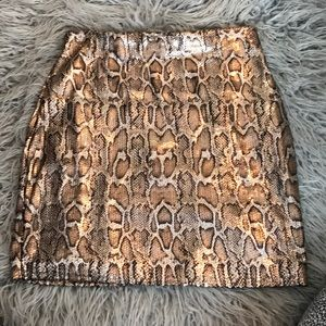 Gold sequin skirt snakeskin
